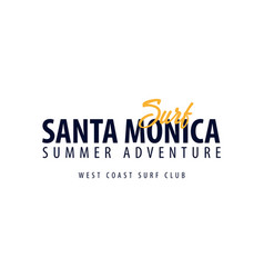 Santa monica surfing emblem or logo vector