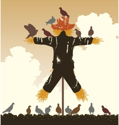 Scarecrow pigeons vector image