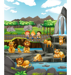 Scene with children and many lions vector