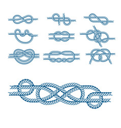 Sea boat rope knots isolated vector