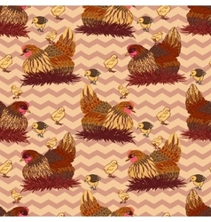 Seamless background with hand drawn rooster hens vector