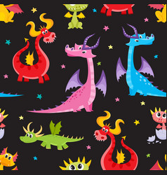 Seamless pattern with cartoon dragon characters vector