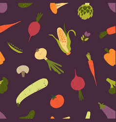seamless pattern with raw vegetables and mushrooms vector image