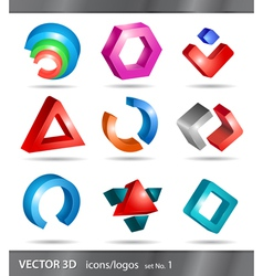 Set 3d icons or logos vector