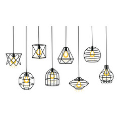 set different geometric loft lamps and iron vector image