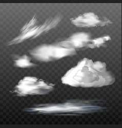 Set of translucent clouds of various types vector