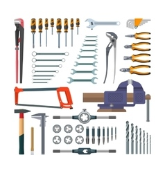 Set of working tools in flat style Design vector