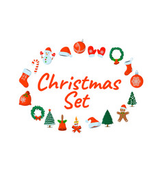 set of xmas isolated icon cartoon style for vector image