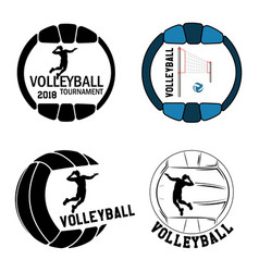 set volleyball logo for team and cup vector image