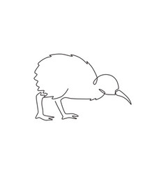 single continuous line drawing funny kiwi vector image