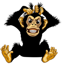Sitting angry cartoon chimp vector