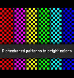 six checkered patterns vector image