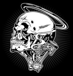Skull motor piston shock ring vector