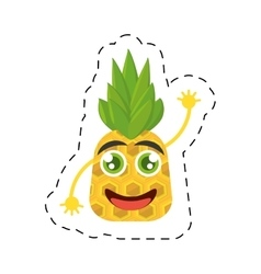 smiling pineapple food tropical cut line vector image