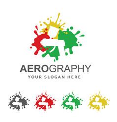 sprayer against paint splash vector image