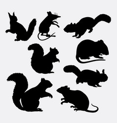 Squirrel and mouse mammal animal silhouette vector