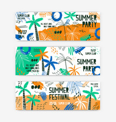 Summer festival banner templates set open vector