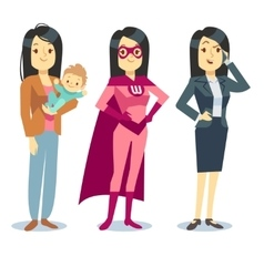 Super woman in superhero costume mom with baby vector image