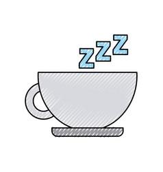 Tea cup with zzzz vector