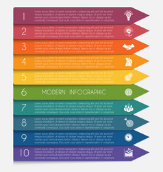 Template infographic horizontal colorful arrows vector