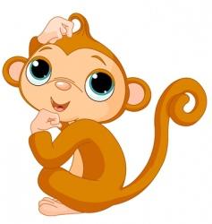 thinking monkey vector image