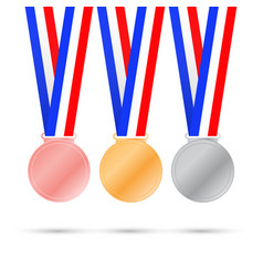 three medals on white background for sport games vector image
