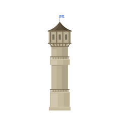 Tower with a gray roof on a vector
