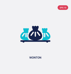 Two color wonton icon from food concept isolated vector
