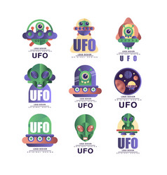 Ufo logo original design set emblem with alien vector