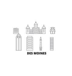 united states des moines line travel skyline set vector image