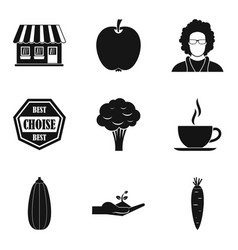 Vegetarian diner icons set simple style vector