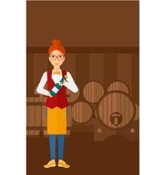 Waitress holding bottle of wine vector image