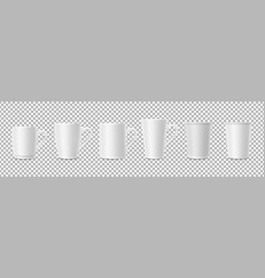 white cups realistic 3d cup mockups isolated on vector image