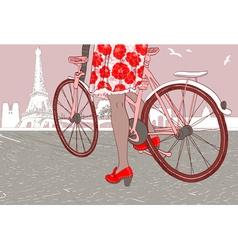 Woman Riding a Bike in Paris vector