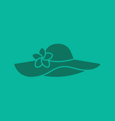 womens beach hat with flower glyph color icon vector image