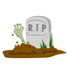 Zombie hand rising from grave vector