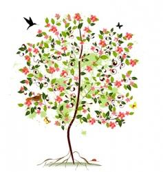 apple blossom tree vector image vector image