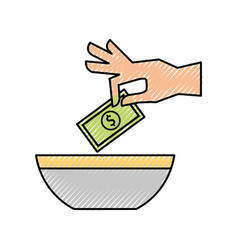 Hand human with money vector