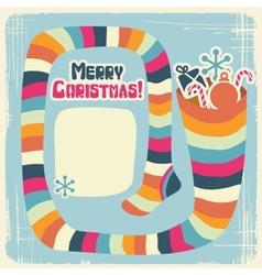 Retro Christmas Sock background vector image