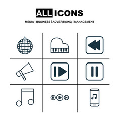 set of 9 audio icons includes octave audio vector image