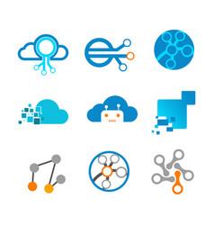 technology network modern logo graphic design vector image