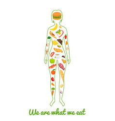we are what we eat silhouette of girl with meal vector image