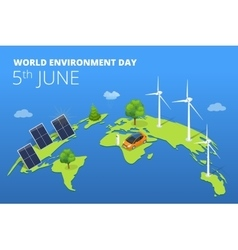 World environment day concept Saving nature and vector image vector image