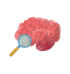 drawing brain search idea creativity vector image