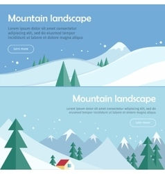 Mountain Landscape Flat Design Web Banners vector image