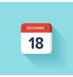 September 18 Isometric Calendar Icon With Shadow vector image