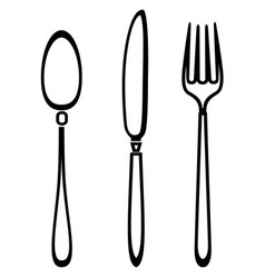 spoon knife and fork outline set vector image vector image