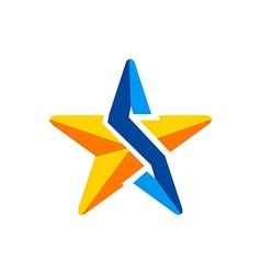 star 3D technology arrow logo vector image