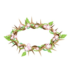 A Crown of Thorns with Fresh Leaves vector image vector image
