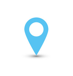 blue map pointer with dropped shadow on white vector image